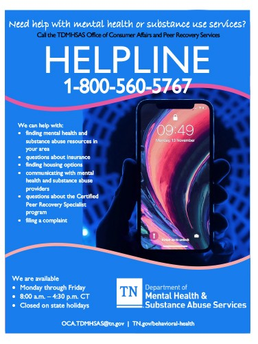 Helpline for Mental Health & Substance Abuse Services