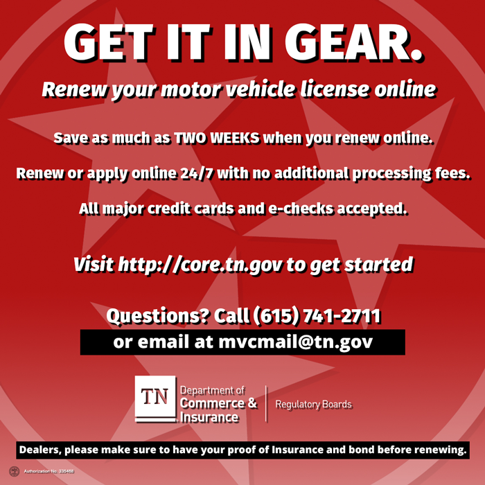 Get It In Gear. Dealers, please make sure to have your proof of Insurance and bond before renewing.