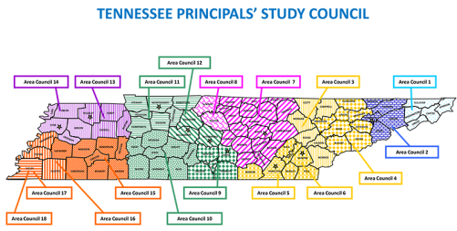 Principal Study Councils by Area and County -  Area 1: Sullivan, Washington, Unicoi, Carter, Johnson. Area 2: Green, Cocke, Hawkins, Hancock, Hamblen. Area 3: Scott, Morgan, Roane, Loudon, Monroe, Campbell. Area 4: Blount, Union, Claiborne, Anderson, Jefferson, Grainger, Sevier. Area 5: Hamilton. Area 6: Polk, McMinn, Meigs, Rhea, Bradey. Area 7: Macon, Trousdale, Clay, Pickett, Fentress, Overton, Jackson, Smith, Putnam, Cumberland, Bledsoe, White, Van Buren, Grundy, Sequatchie, Warren, Cannon, DeKalb, Pickett. Area 8: Wilson, Sumner. Area 9: Bedford, Coffee, Franklin, Lincoln, Moore. Area 10: Hickman, Perry, Lewis, Maury, Marshall, Giles, Lawrence, Wayne. Area 11: Stewart, Houston, Dickson, Cheatham, Montgomery, Robertson, Humphries. Area 12: Davidson, Williamson, Rutherford. Area 13: Henry, Weakley, Carroll, Benton. Area 14: Obion, Lake, Dyer, Crockett, Gibson. Area 15: Haywood, Madison, Chester, Hardeman, McNairy, Harden, Decatur, Henderson. Area 16: Fayette. Area 17: Shelby County Schools. Area 18: Shelby Municipal Districts.
