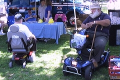 people used wheeled chairs to roll through a festival