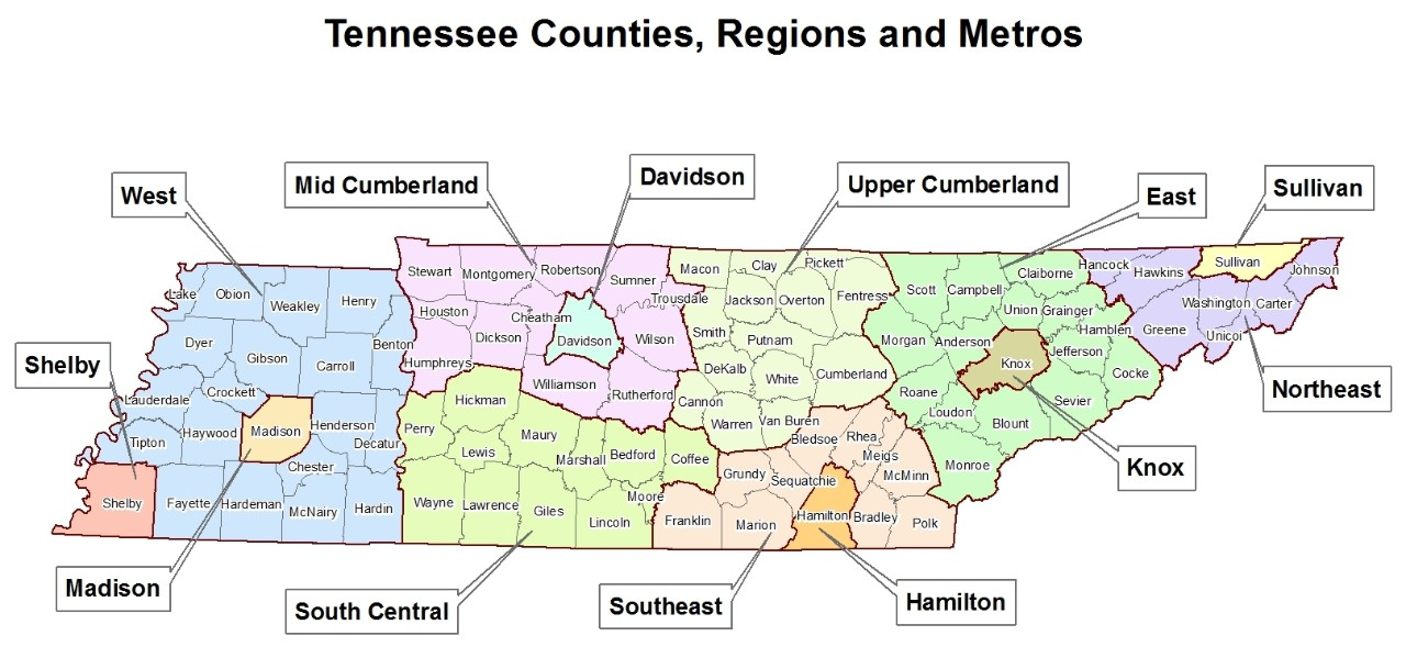 Tennessee 13 Health regions