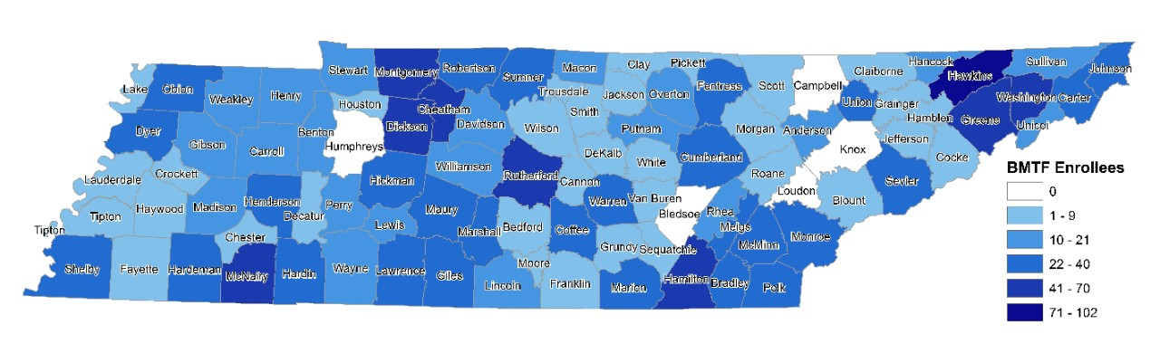 Tennessee BMTFP enrollees by county