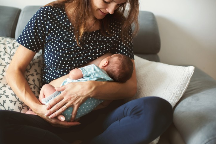 Breastfeeding mom and infant