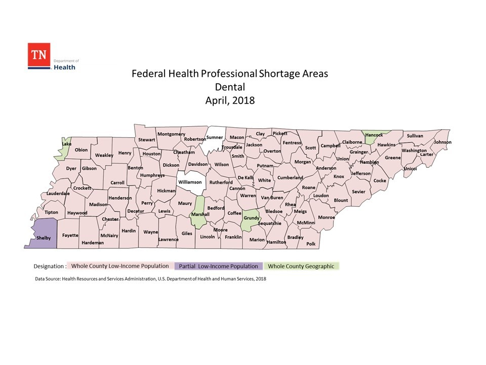 Federal Health Professional Shortage Areas for Dental 2018