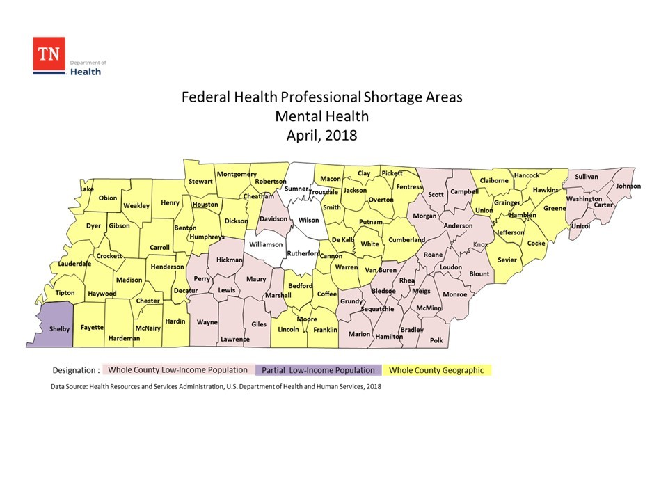 Federal Primary Care Shortage Areas for Mental Health 2018