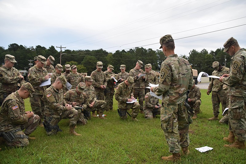Soldiers of the Tenn. Army National Guard's 117th Military Police Battalion conduct a convoy operations briefing prior to departure from battalion headquarters in Athens, Tenn. on September 16, 2018.