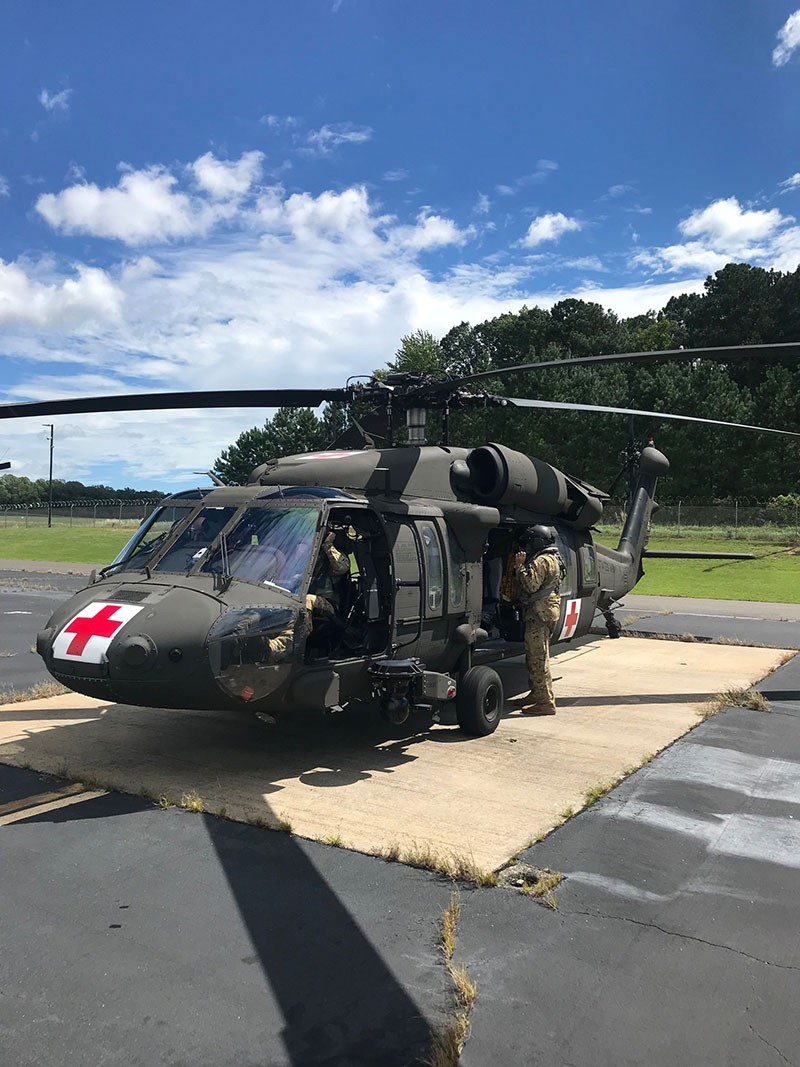 Aircrew of the Tenn. National Guard's 1-230th Assault Helicopter Battalion prepares to depart for North Carolina September 17, 2018 to assist in the relief efforts of Hurricane Florence.