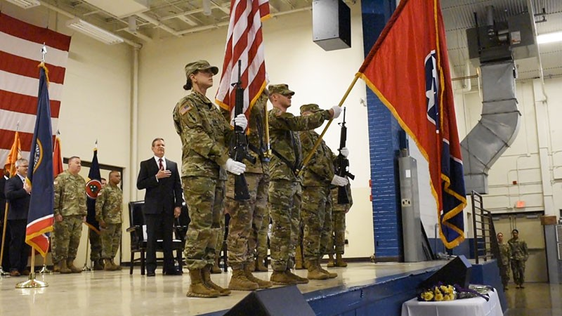 A Tennessee National Guard color guard presents the American flag during a change of command ceremony for Maj. Gen. Jeff Holmes, the 76th Adjutant General, at the Joint Force Headquarters in Nashville on March 3, 2019. (U.S. Army photograph courtesy of Sgt. Robert Mercado)