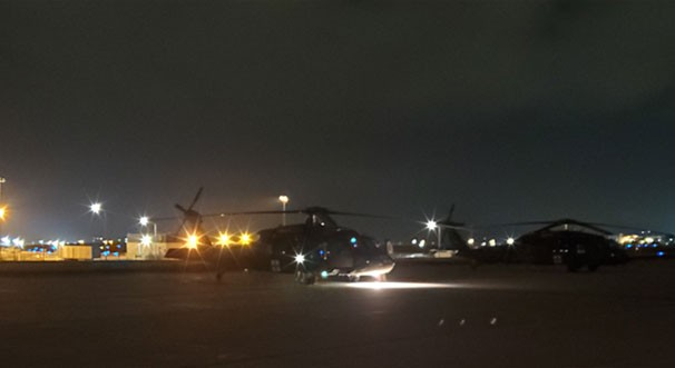 A UH-60L Blackhawk helicopter from the Tennessee National Guard's Detachment 1, Company C, 1-171st Aviation Regiment prepares to take-off from Joint Base McGhee-Tyson in Knoxville at approximately 2:15 a.m., Oct. 28. (Submitted photo)