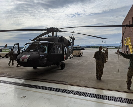 Tennessee Army National Guard Helicopter preparing to take flight