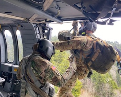 Guard members using hoist on helicopter