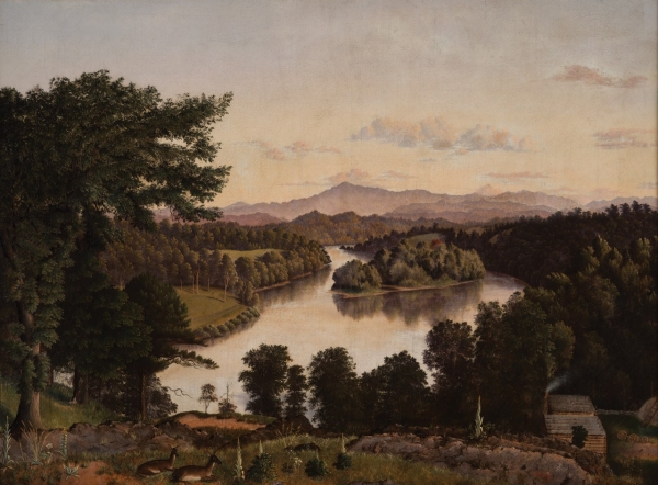 Image: Belle Isle from Lyon's View, a view along the Tennessee River at Knoxville, by James Cameron, 1861. Oil on Canvas. On exhibit in the Tennessee State's Museum as part of its Permanent Exhibitions.