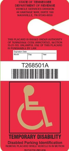 Disabled Driver - temporary placard