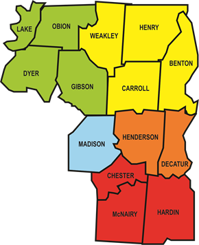 Map of District Eight Counties