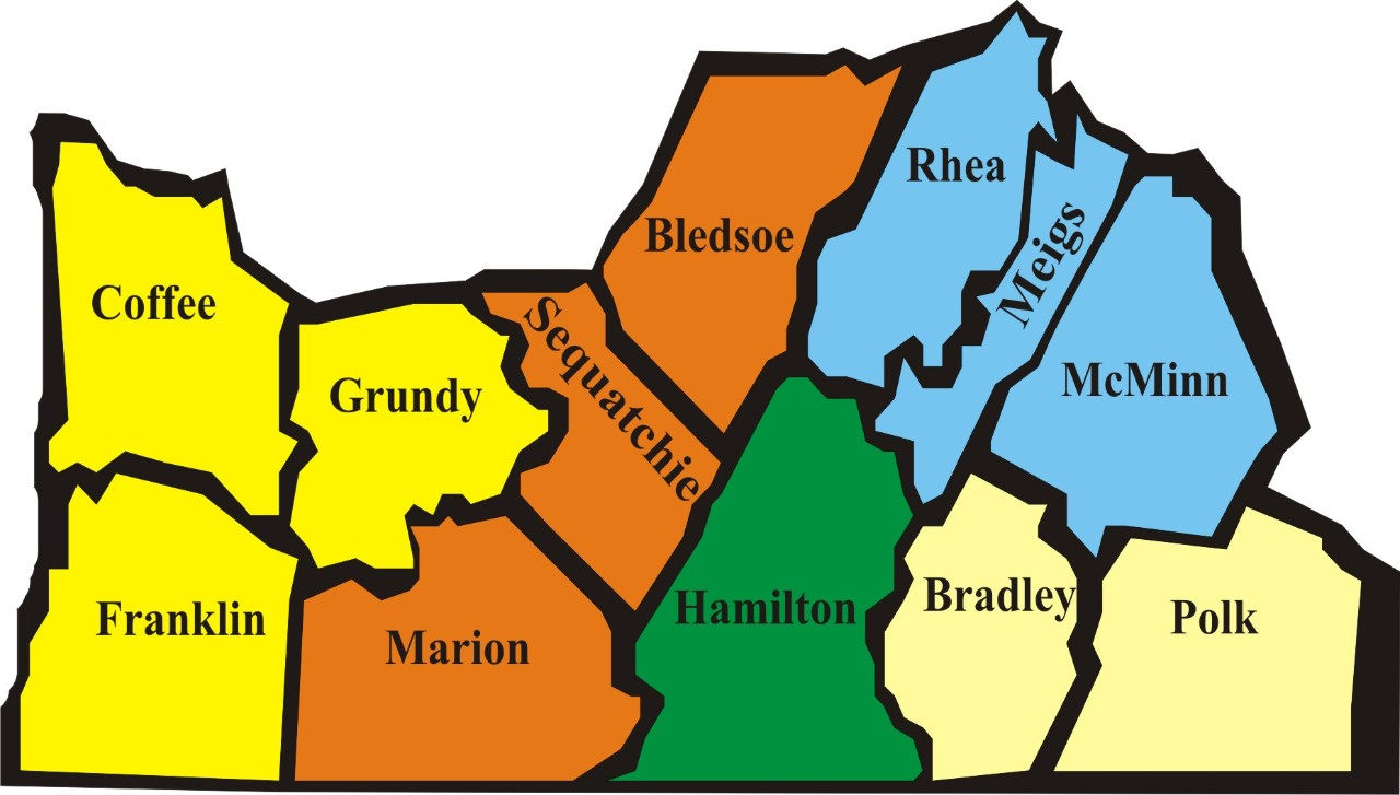 Map of District Two Counties