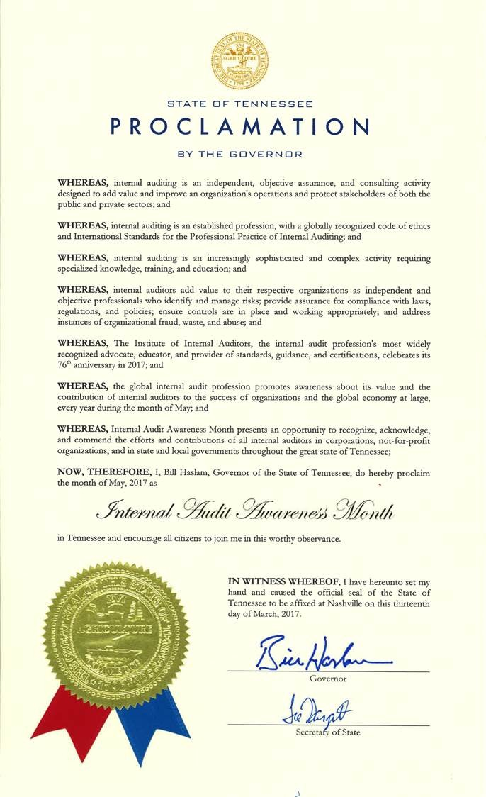 State of TN Proclamation by the Governor