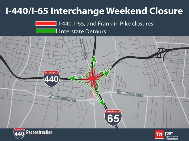 I-440 I-65 Interchange Weekend Closure Detour Map