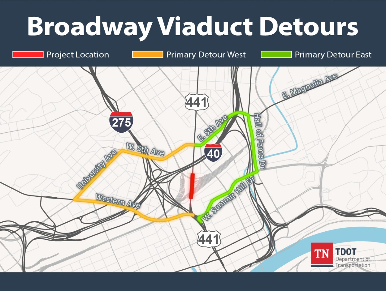 Broadway Viaduct Primary Detours