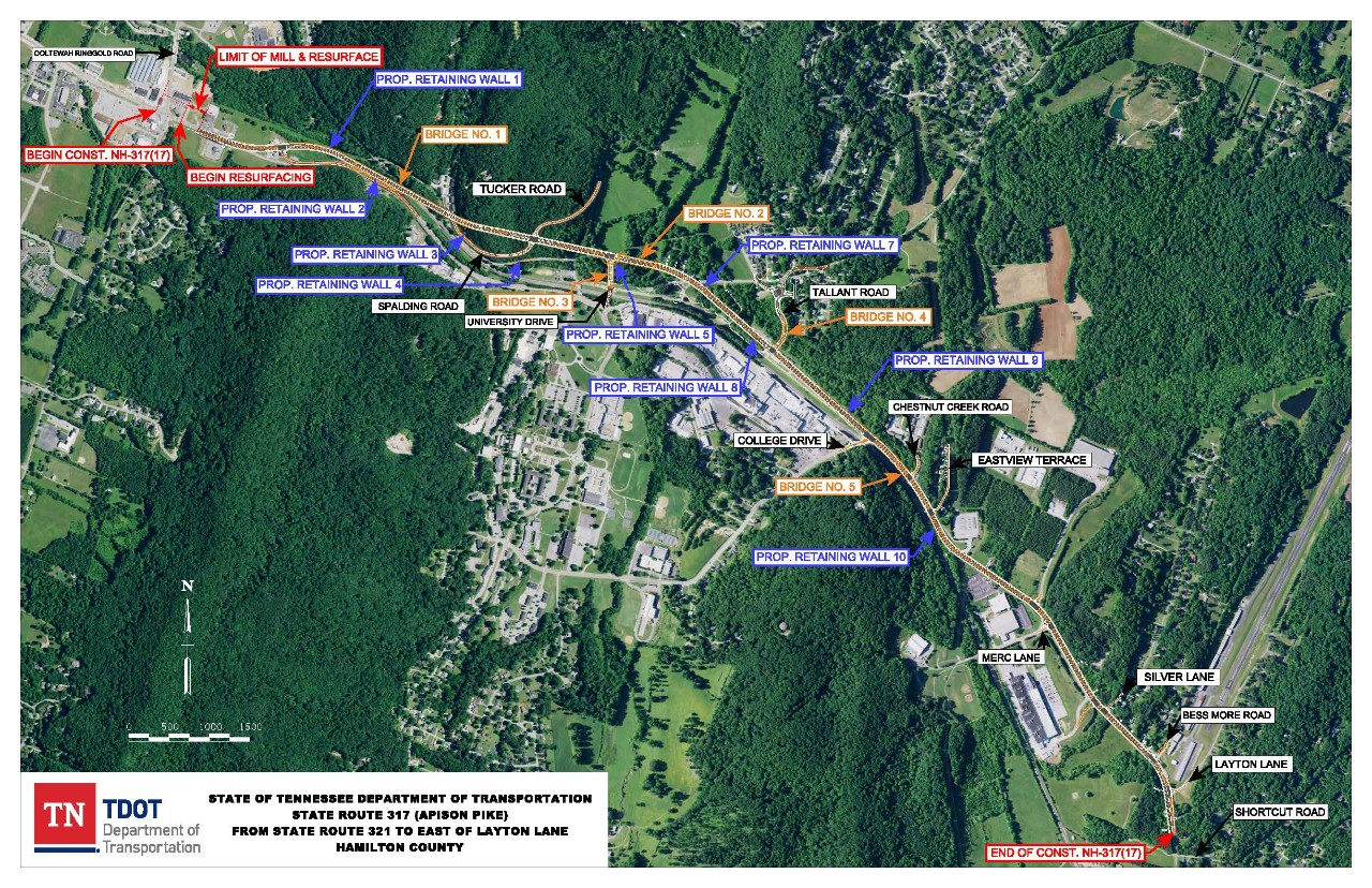 Map of Planned Improvements for Apison Pike from SR 321 to Layton Lane