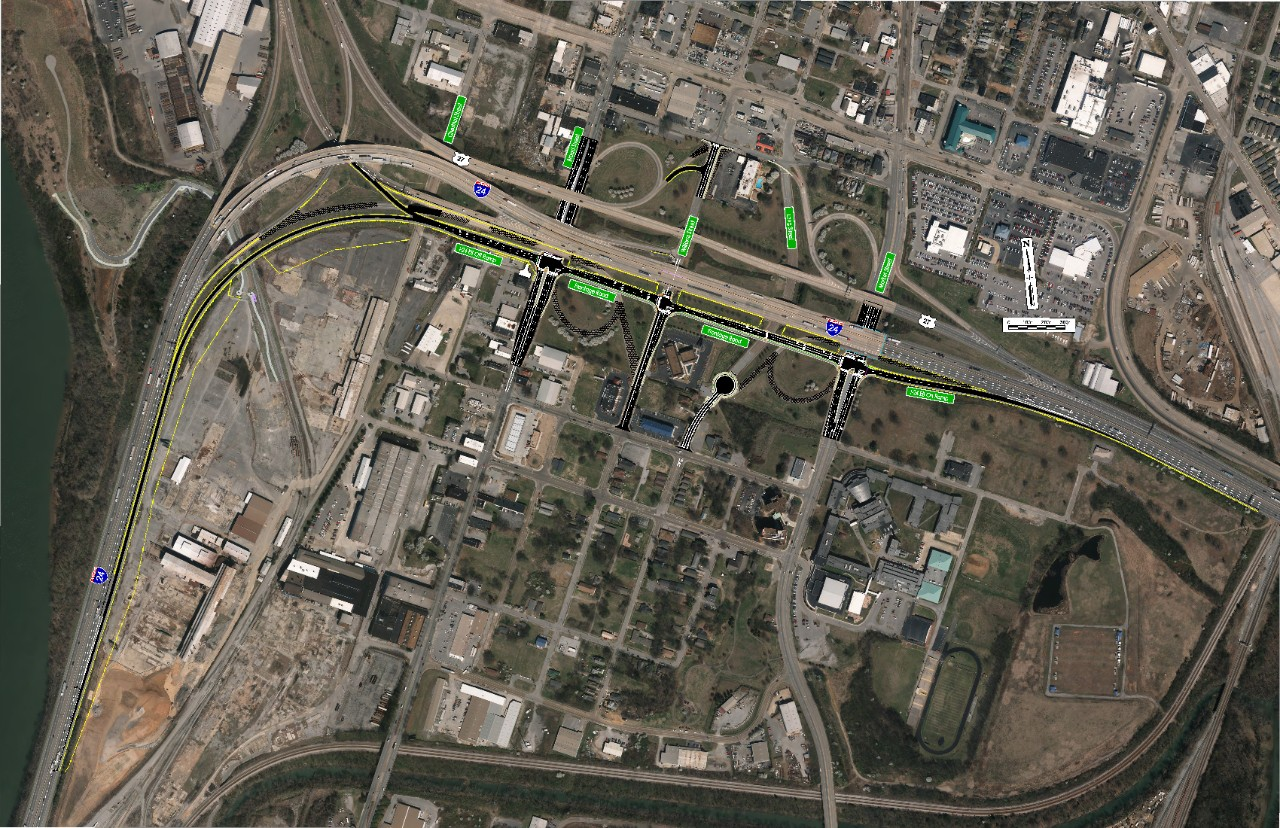 aerial view of I-24 East Interchange at Broad and Market Streets