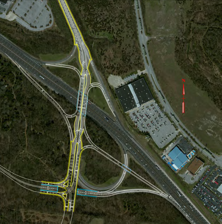 rendering of I-24/Hickory Hollow Pkwy Diverging Diamond Interchange