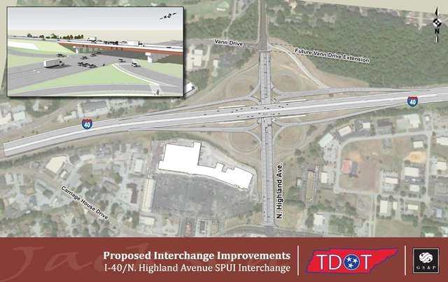 Rendering of Interchange Improvements at I-40 & N Highland (aerial)