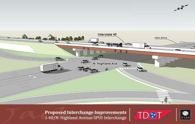 Rendering of Interchange Improvements at I-40 & N Highland (street level)