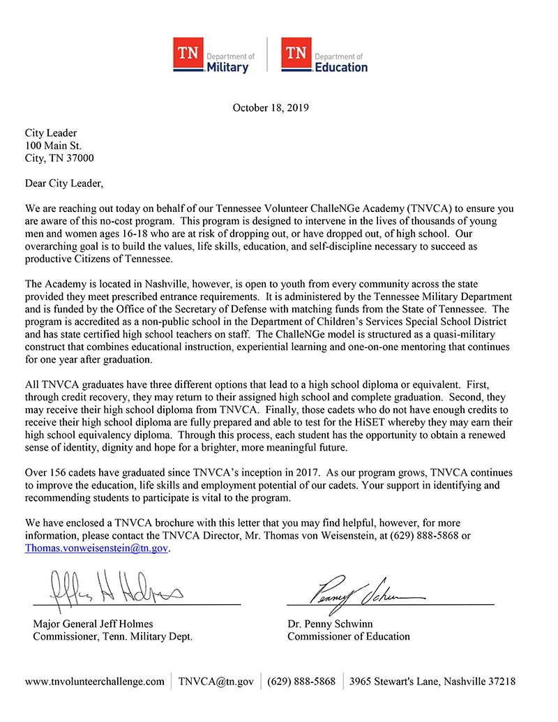 Letter from Education and Military Commissioners regarding the Tennessee Volunteer ChalleNGe Academy