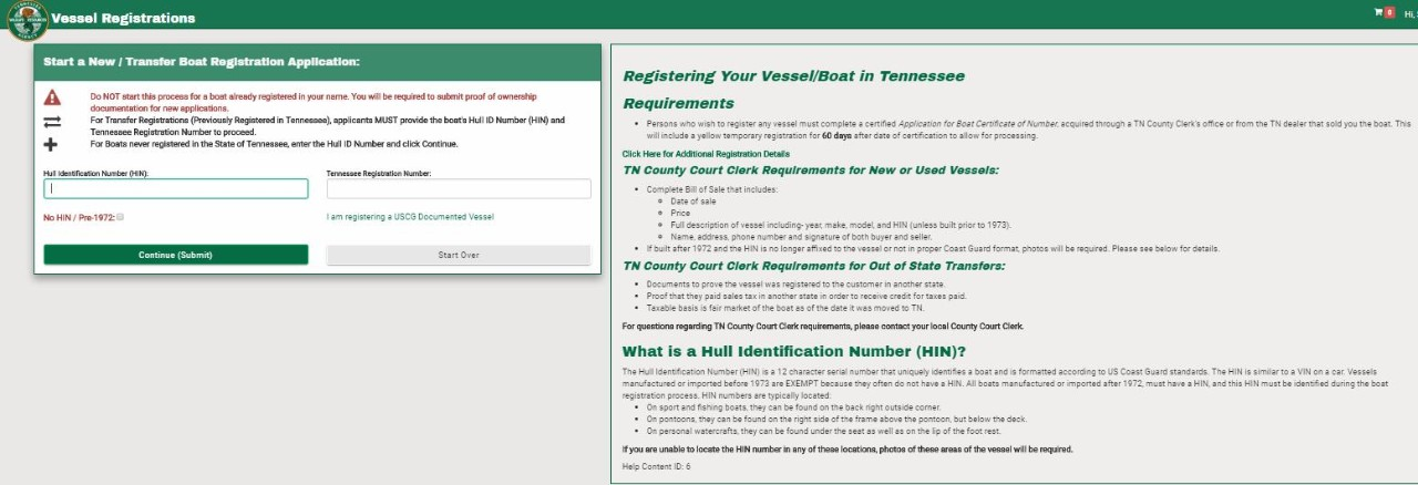 Tennessee water vessel registration example
