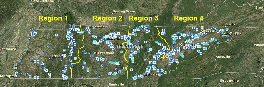 Trout Fishing In Tennessee Map.Boating And Fishing Site Access Map